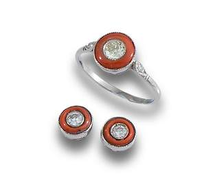 Set. White gold ring and earrings white gold coral