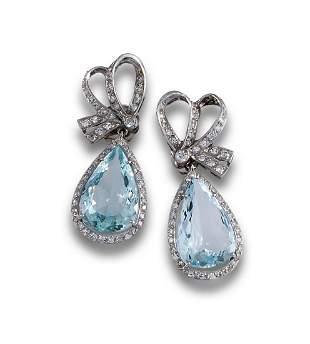 PLATINUM AQUAMARINE DIAMOND EARRINGS