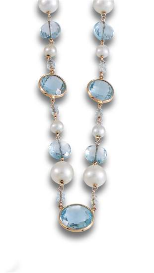 NECKLACE ROSE GOLD TOPAZ PEARLS 65