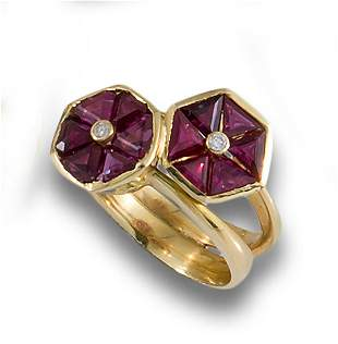 RUBY GOLD DOUBLE FLOWER RING