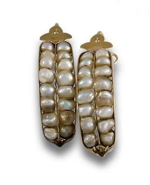 Hoop earrings gold and pearl beads