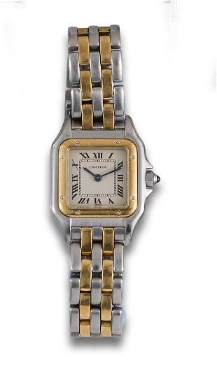 CARTIER PANTHERE STEEL AND GOLD QUARTZ WATCH