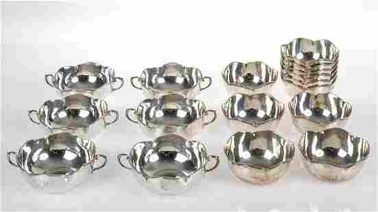 23 silver consommé cups