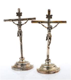 Pair of silver crucifixes