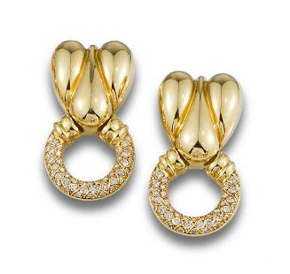 GOLD HOOP EARRINGS BOMBE DIAMONDS