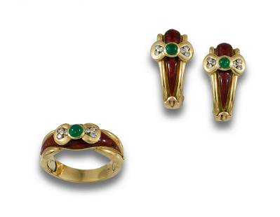 LOT MAURICE LACROIX GOLD DIAMONDS EMERALDS ESMA