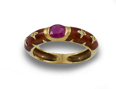 Gold ring rubi esmaltes