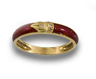 BURGUNDY ENAMELLED GOLD RING PAVE DIAMONDS