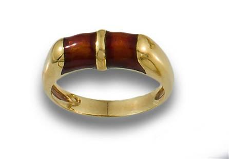 BURGUNDY ENAMEL GOLD BAND RING