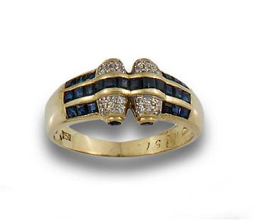 GOLD RING WITH DIAMONDS AND SAPPHIRES