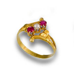 RING XIX GOLD PEARL RED GLASS