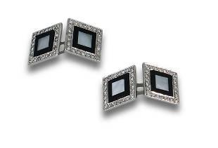 PLATINUM ONYX DIAMOND DOUBLE CUFFLINKS