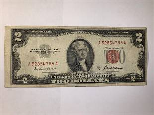 1953 A Two Dollar Note Red Seal 100312 Bill