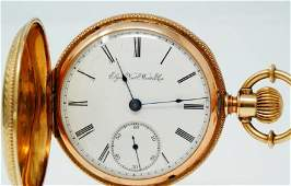 Pocket Watch Elgin 1891 GM Wheeler 15J W/14K Case