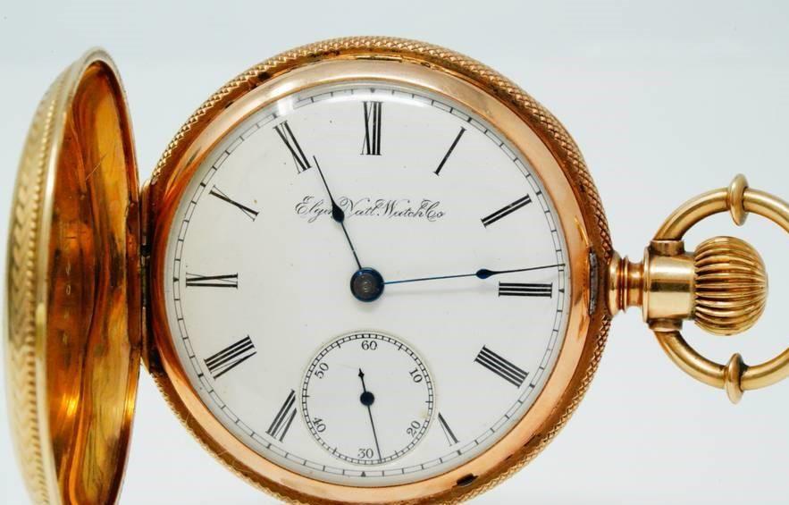 Pocket Watch Elgin 1891 GM Wheeler 15J W14K Case