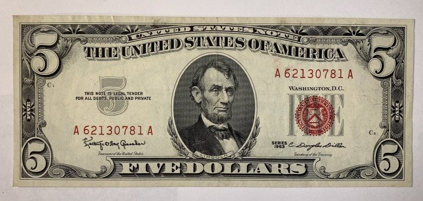1963 Five Dollar Bill 5 Red Seal VG or better