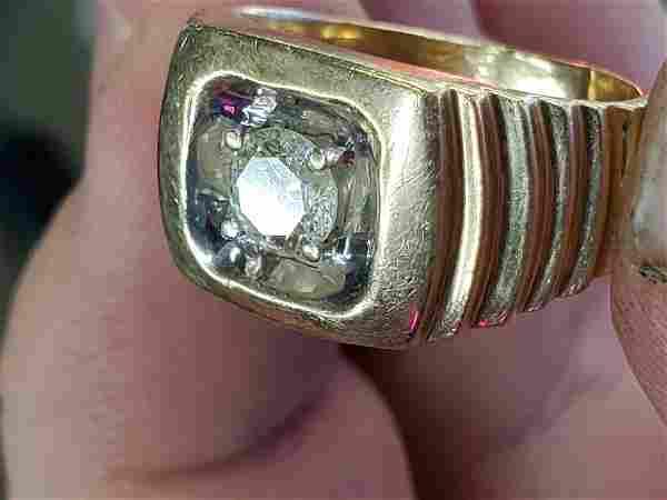 MENS RING PINKY GOLD 14k ct diamond SZ 8