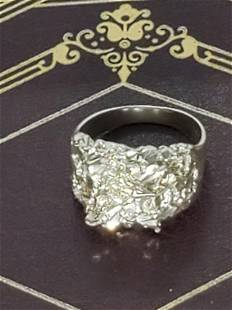SILVER NUGGET RING SZ12 MARKED 925