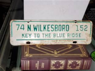license plate WILKESBORO 1974 NORTH CAROLINA NC
