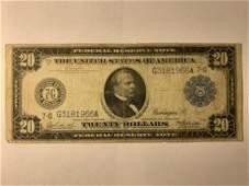 1914 UNITED STATES 20 TWENTY DOLLAR BANK OF CHICAGO