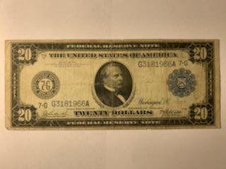 1914 UNITED STATES $20 TWENTY DOLLAR BANK OF CHICAGO!!