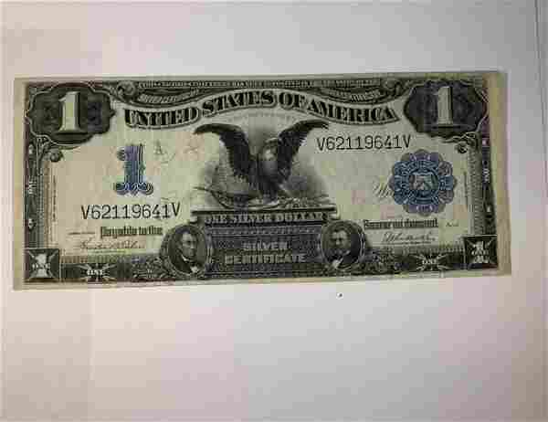 1899 US $1 Silver Certificate Large Note Black Eagle AU