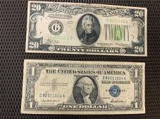 20 dollar bill and 1 silver certificate