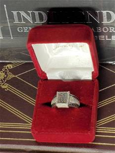 LADIES RING GENUINE NATURAL DIAMONDS WHITE GOLD