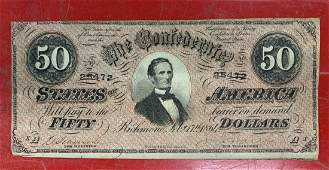1864 CONFEDERATE STATES OF AMERICA 50 DOLLAR NOTE
