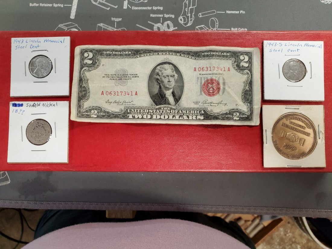 2 dollar bill shield nickel steel pennies numismatics +