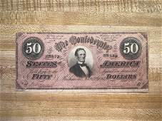 50 Dollar Bill confederate hand cut