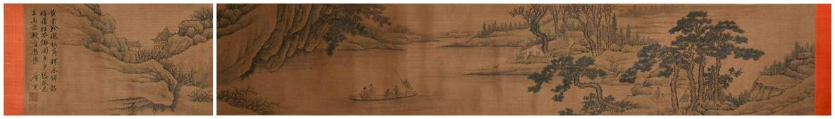 A CHINESE LANDSCAPE AND FIGURES HAND SCROLL, TANG YIN