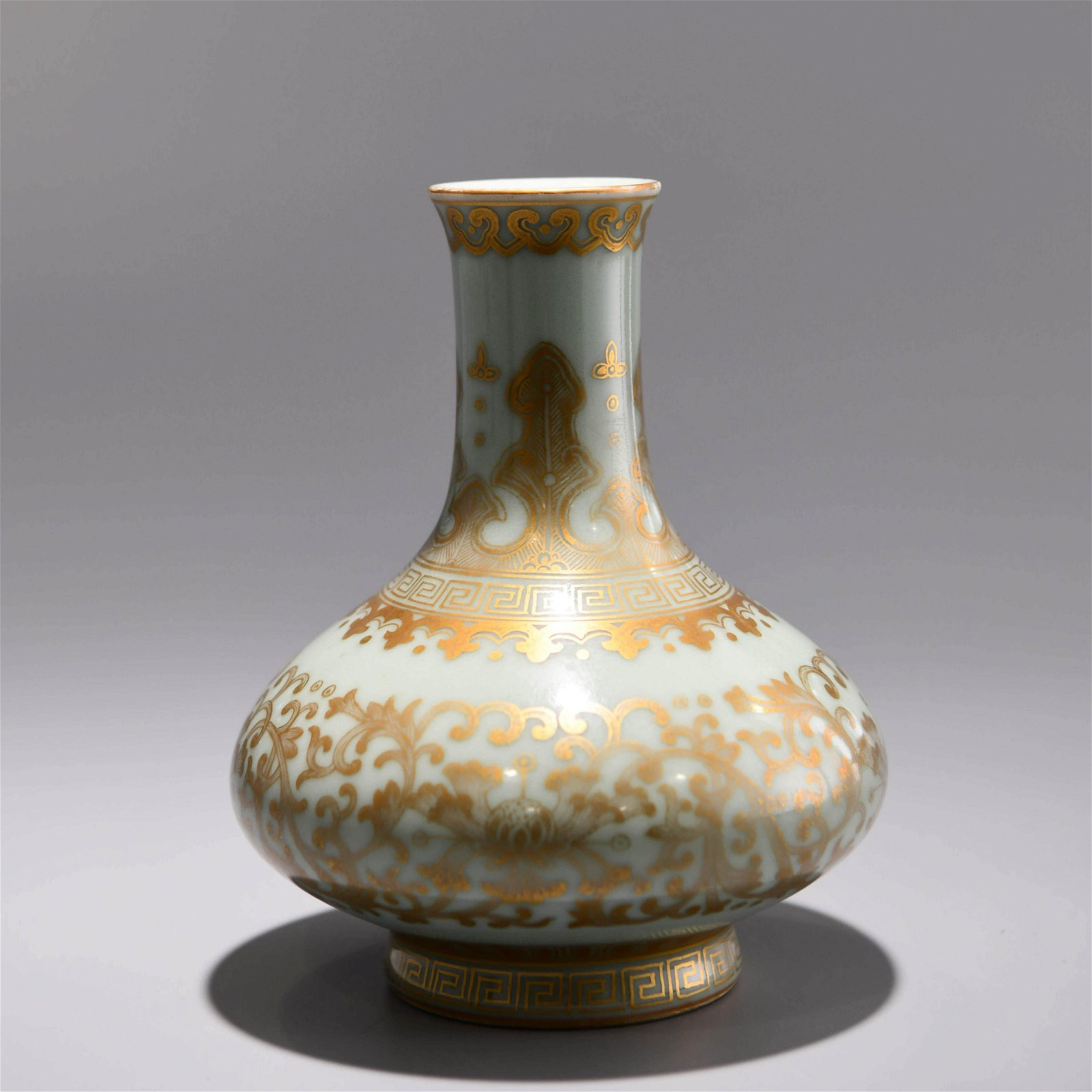 A CHINESE GILT PORCELAIN FLASK