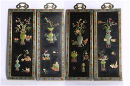 4PCS CHINESE GEM INLAID CLOISONNE SCREENS