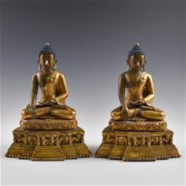 A PAIR CHINESE MING MAGNIFICENT GILT BRONZE BUDDHAS