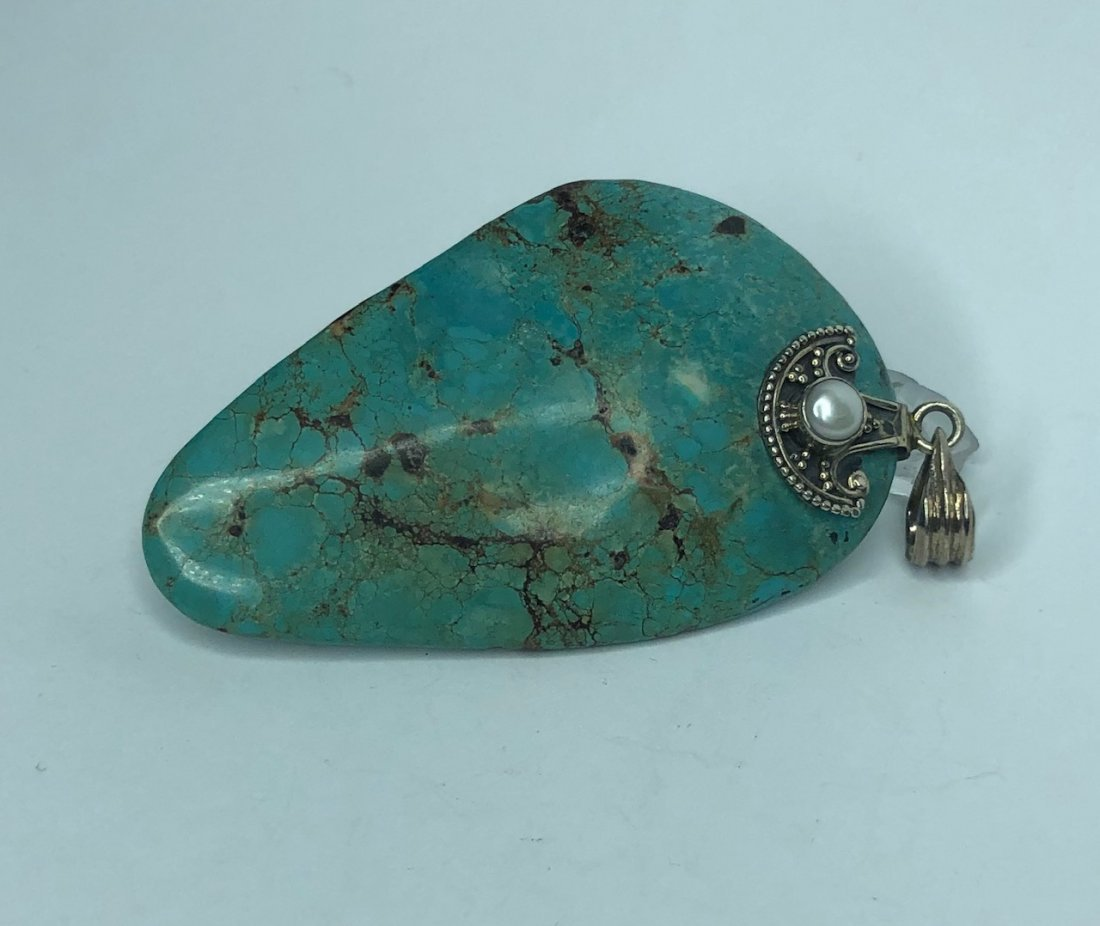 Sterling Silver /& Blue Kingman Turquoise inlay Pine Cone Pendant