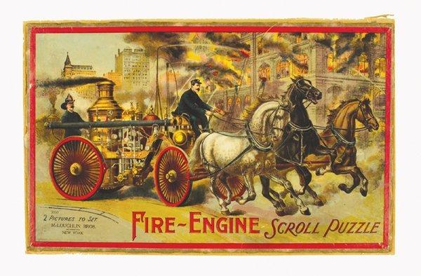 173: CA.1875 LITHOGRAPH HORSE-DRAWN STEAM FIRE ENGINE
