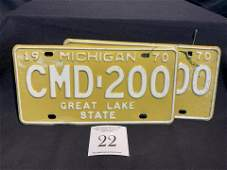 1970 GREAT LAKE STATE MICHIGAN matching pair of license