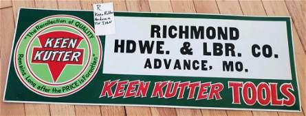 rare KEEN KUTTER Hardware embossed tin sign ORIGINAL