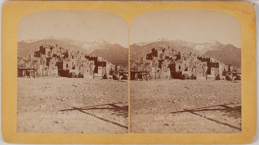 2 early rare views 4 story TAOS PUEBLO, NM 1890s