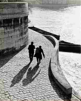 MODERNIST view along the Seine Paris 1950 Sublime