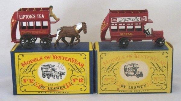 2: 2x Matchbox Yesteryear Y2-1 + Y12-1 Buses