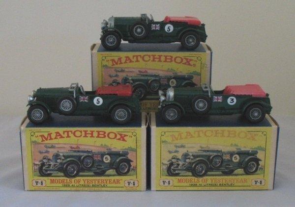 6: 3x Matchbox Yesteryear Y5-2 1929 4.5 Litre Bentley