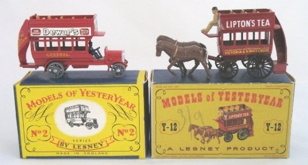 2: 2x Matchbox Yesteryear Y2-1 'B' Type Bus Y12-1 Bus