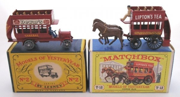 2: 2x Matchbox Yesteryear Y2-1 and Y12-1 Buses