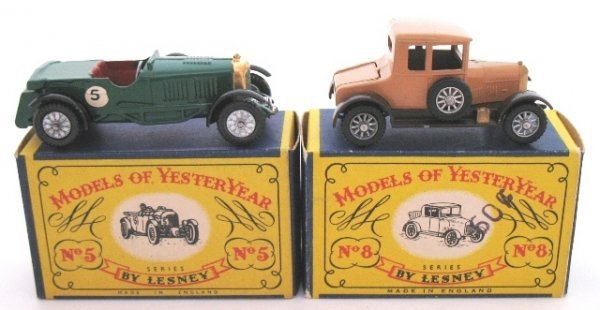 6: 2x Matchbox Yesteryear Y5-1 Bentley Y8-1 Morris