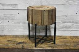Reclaimed Wooden Stool on Metal Base