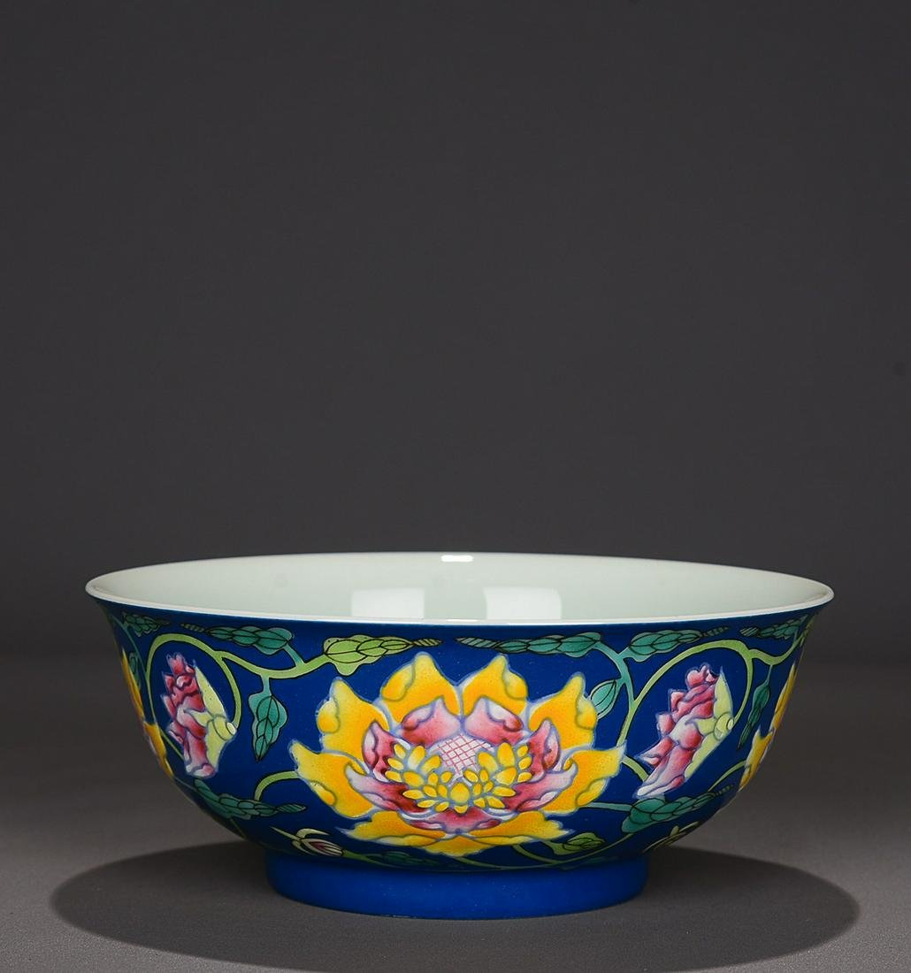 BLUE GLAZED 'PEONY SCROLL' BOWL, YONGZHENG IMPERIAL