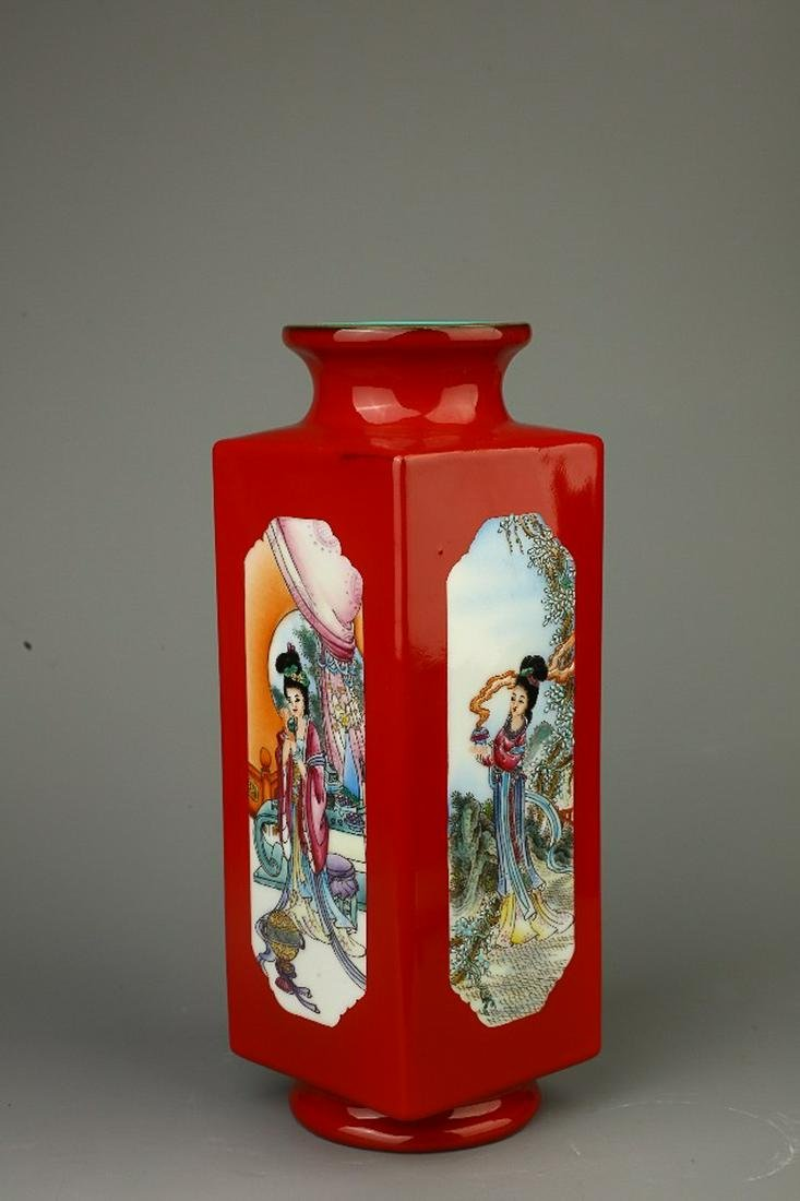 GLAZED 'FOUR BEAUTIES' SQUARE VASE, YONGZHENG PERIOD