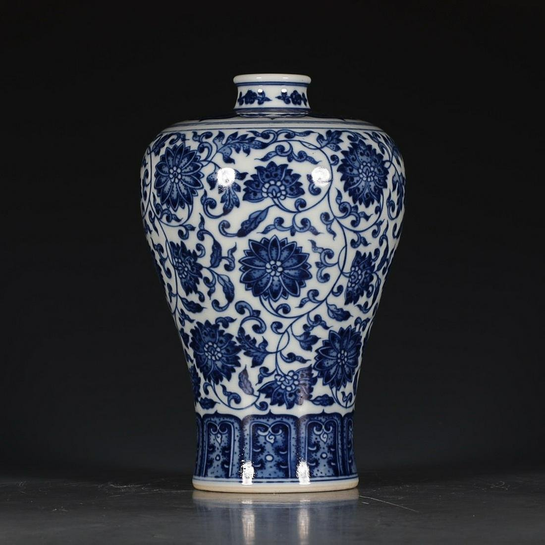 BLUE & WHITE 'LOTUS FLORAL SCROLL' MEIPING VASE, QING